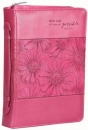 With God, All Things Are Possible, Bible Cover, Pink Floral, Large